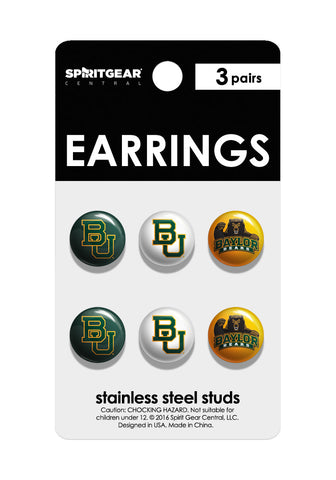Baylor Bears Stud Earrings - Spirit Gear Central