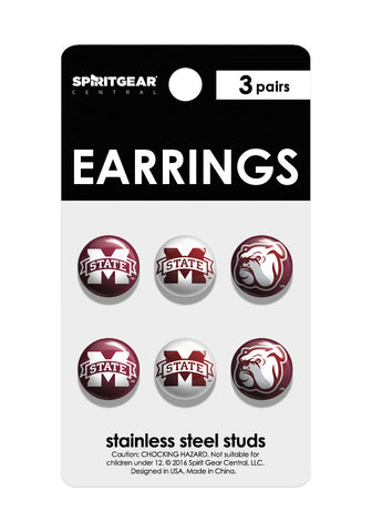 Mississippi State Bulldogs Stud Earrings - Spirit Gear Central