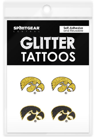 Iowa Hawkeyes Glitter Tattoos 4 Pack