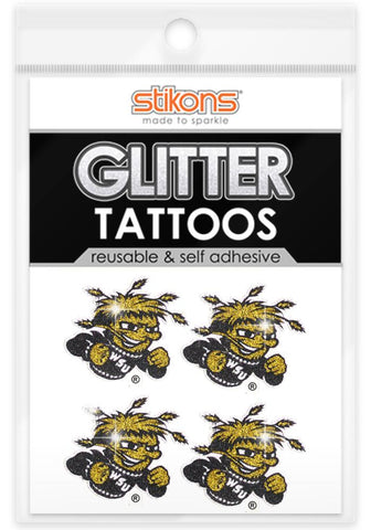 Wichita State Shockers Glitter Tattoos 4 Pack