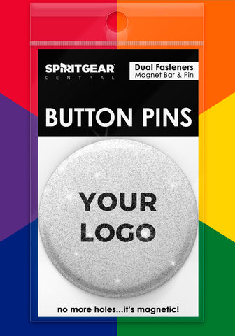 100 Custom Glitter Button Pins - Spirit Gear Central