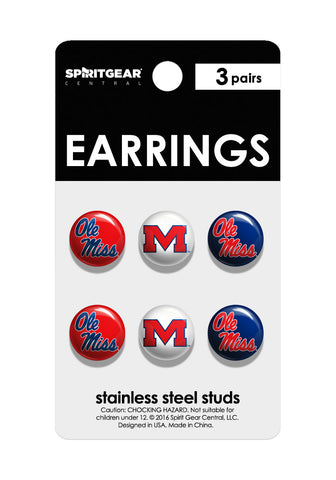 Ole Miss Rebels Stud Earrings - Spirit Gear Central