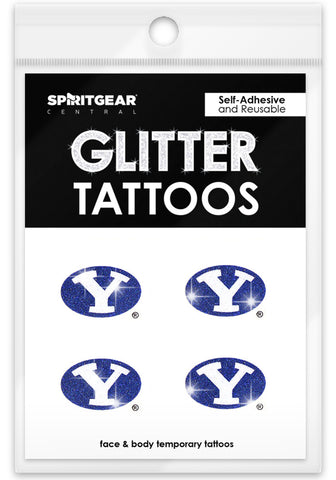 BYU Cougars Glitter Tattoos 4 Pack