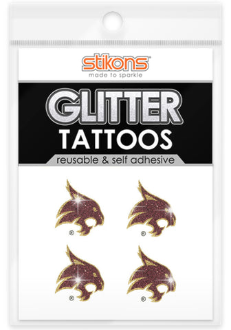 Texas State Bobcats Glitter Tattoos 4 Pack - Spirit Gear Central