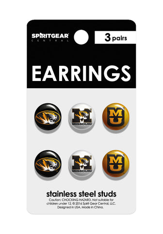 Missouri Tigers Stud Earrings - Spirit Gear Central