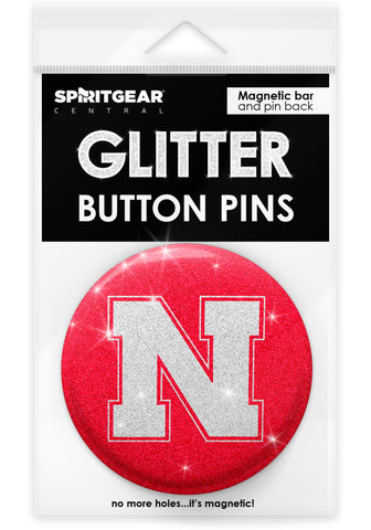 Nebraska Cornhuskers Glitter Button Pins