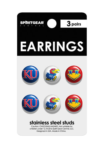 Kansas Jayhawks Stud Earrings - Spirit Gear Central