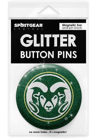 Colorado State Rams Glitter Button Pins