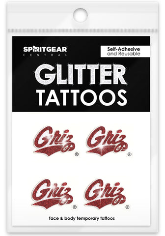 Montana Grizzlies Glitter Tattoos 4 Pack