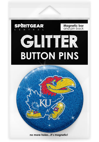 Kansas Jayhawks Glitter Button Pins