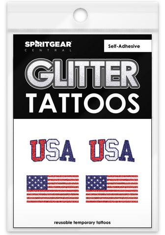 USA Glitter Tattoos 4 Pack - Spirit Gear Central