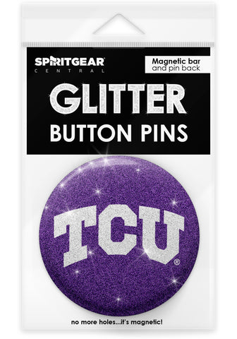 TCU Horned Frogs Glitter Button Pins