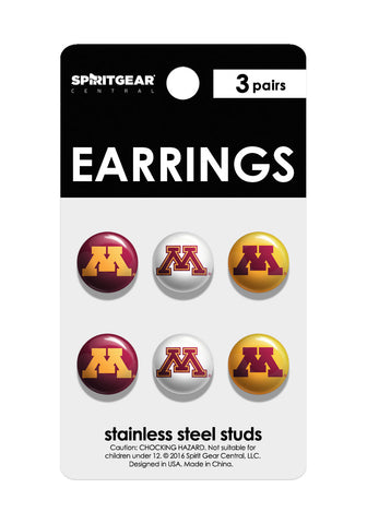 Minnesota Golden Gophers Stud Earrings - Spirit Gear Central