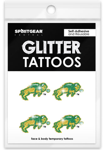 NDSU Bison Glitter Tattoos 4 Pack