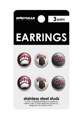 Montana Grizzlies Stud Earrings - Spirit Gear Central