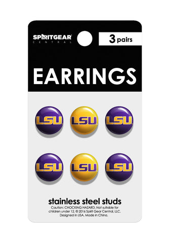 LSU Tigers Stud Earrings - Spirit Gear Central