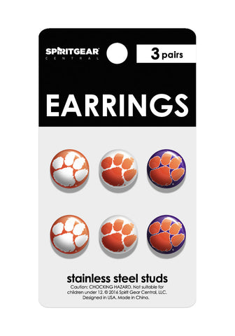 Clemson Tigers Stud Earrings - Spirit Gear Central