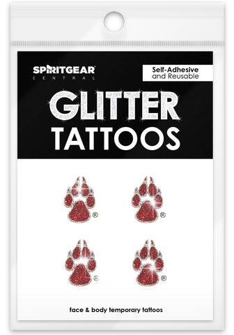 New Mexico Lobos Glitter Tattoos 4 Pack