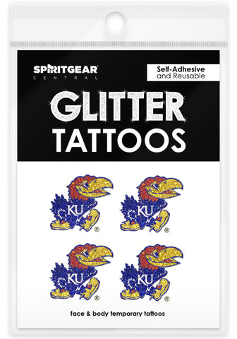 Kansas Jayhawks Glitter Tattoos 4 Pack