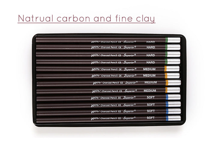 Superior Charcoal Pencil 12 Piece Set