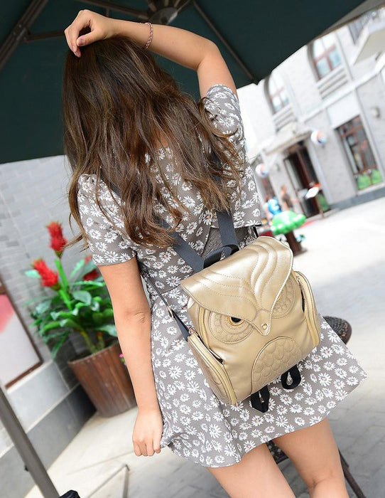 Stylish Owl Shape Solid Color Design Women Shoulder Satchel