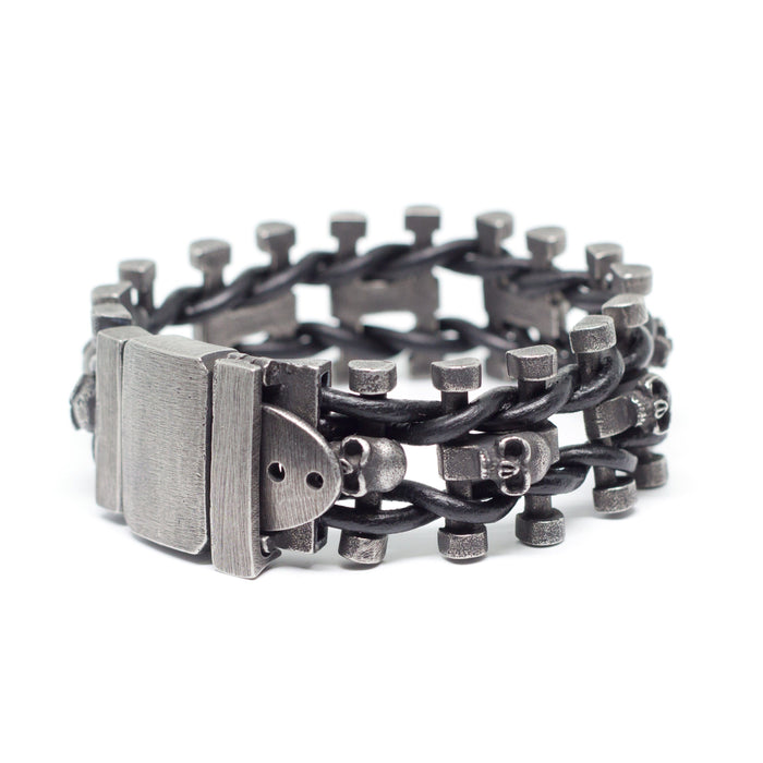 Handmade Leather-n-Stainless Steel Skulls Bracelet