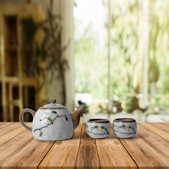 Handmade Japanese Vintage Pottery Tea Set
