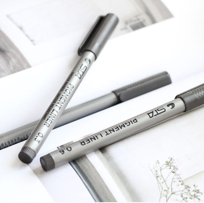6 Piece Fine Pigment Liner Pens for Drawing/Sketching