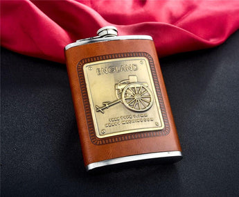 9oz Stainless Steel Hip Flask - England Heavy Artillery
