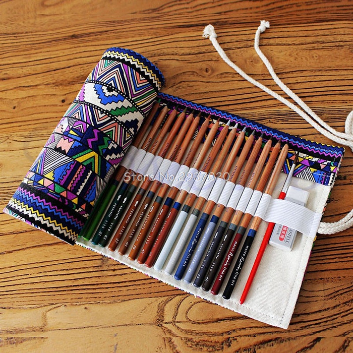 Handmade Canvas Roll-Up Pen/Pencil Case