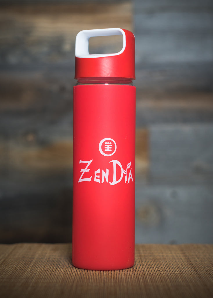ZenDia Glass Bottle with Silicone Sleeve - Red