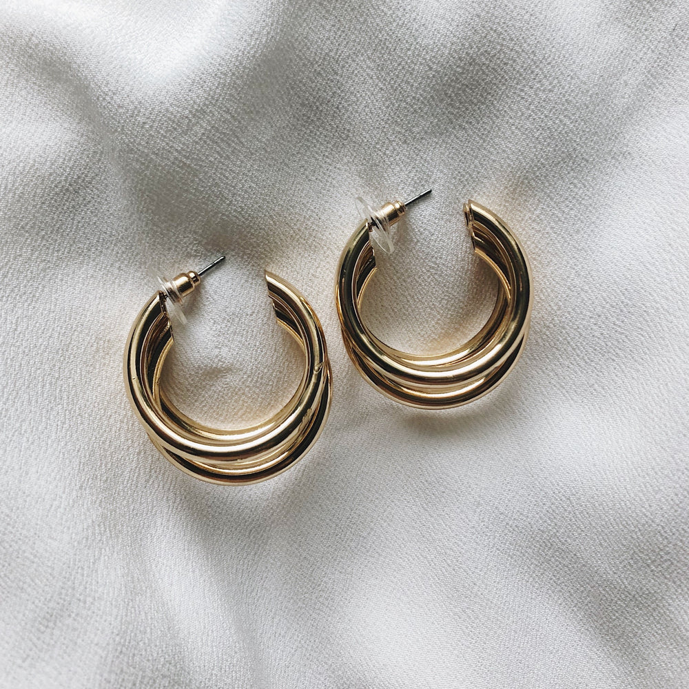 Penelope Tripe Gold Hoop Earrings