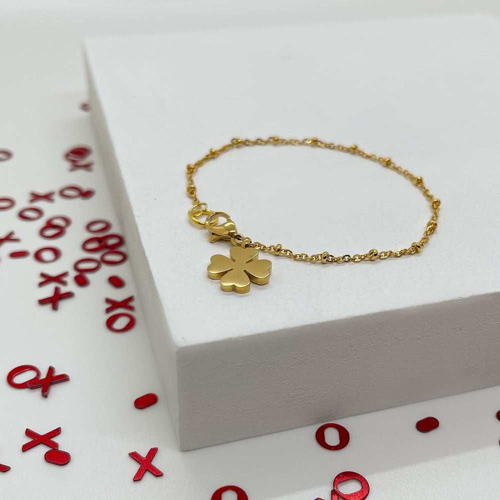"""You Are My Lucky Charm"" Gold Bracelet"