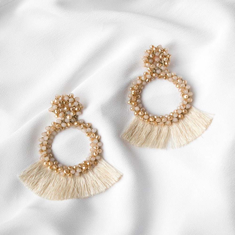 Lenora Beaded Fringe Earrings