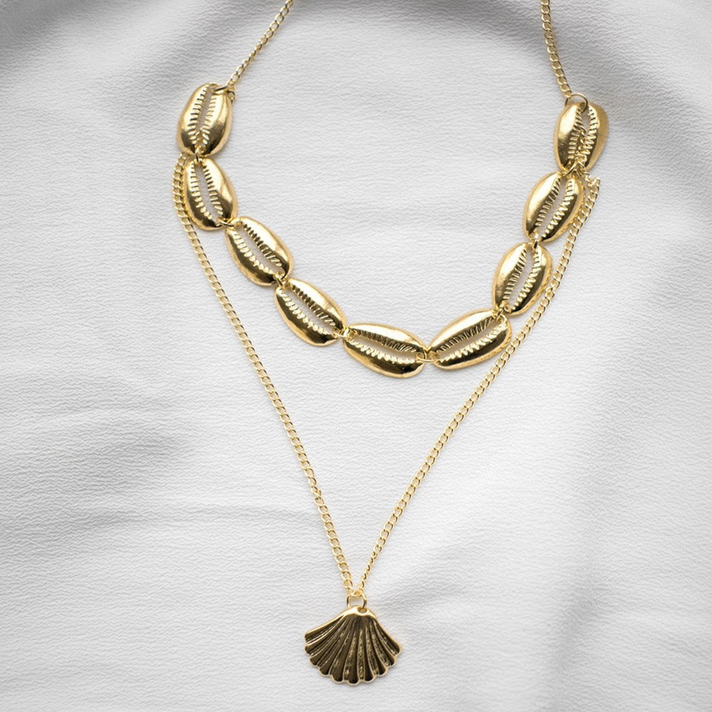 Liliane Double Layered Shell Choker Necklace
