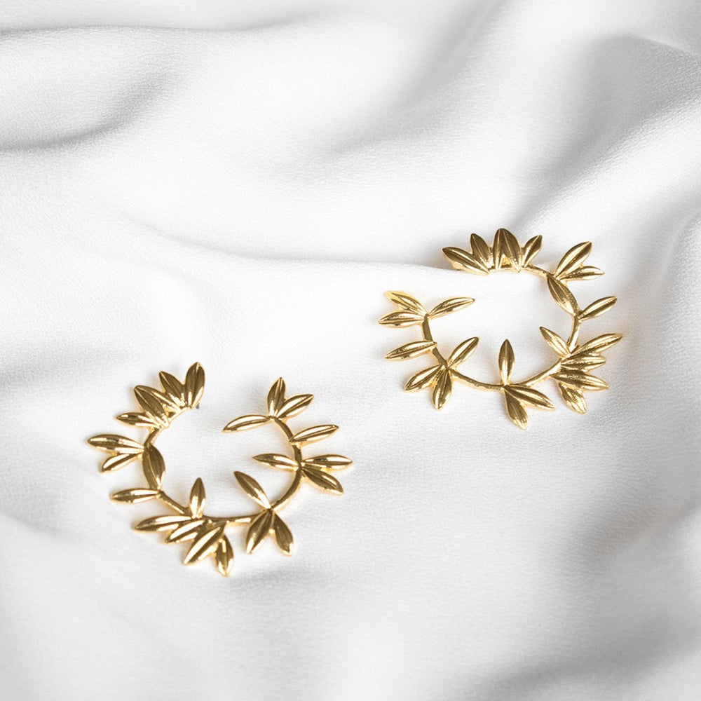 Marjorie Gold Leaf Hoop Earrings