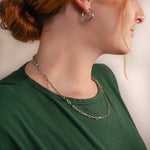 Nora Paper Clip Silver Chain Necklace