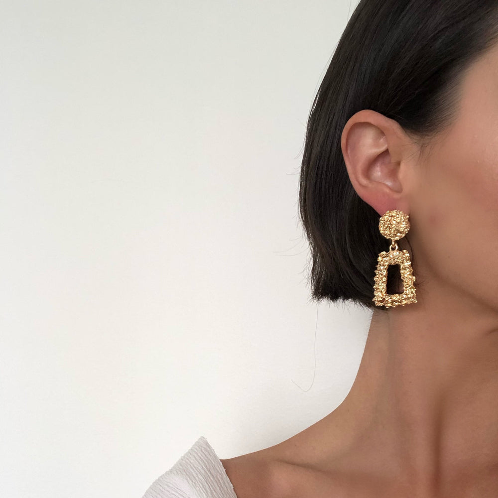 Sandra Tiny Rectangle Statement Earrings