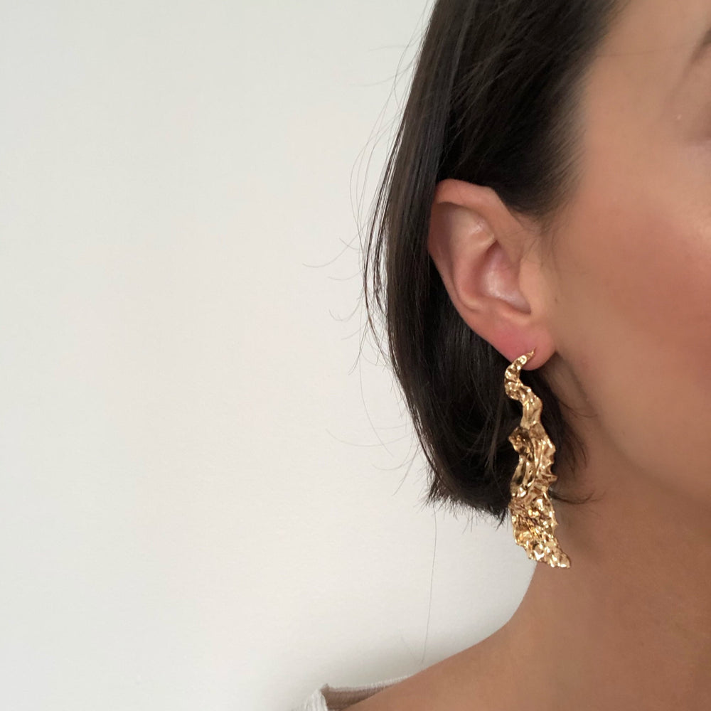 Ella Gold Textured Earrings