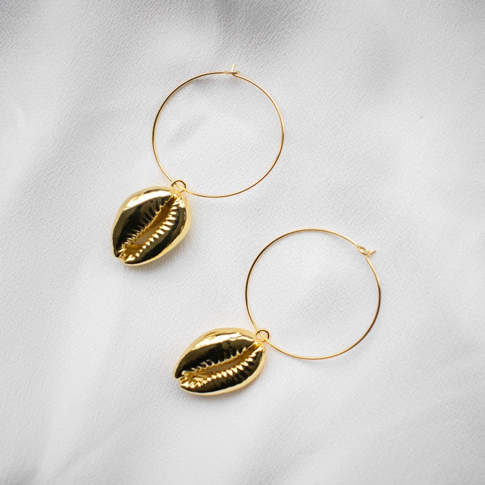 Anna 18K Gold Cowrie Shell Hoop Earrings