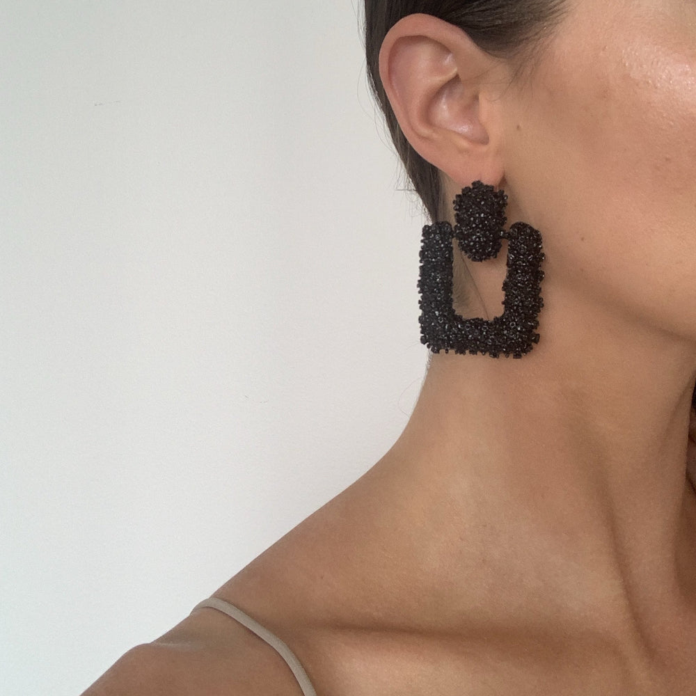 Nina Black Square Statement Earrings