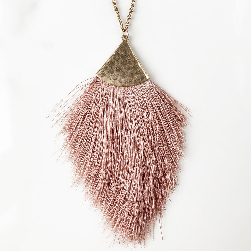 Malacca Tassel Necklace Pink Necklaces Sales French Fiasco French Fiasco