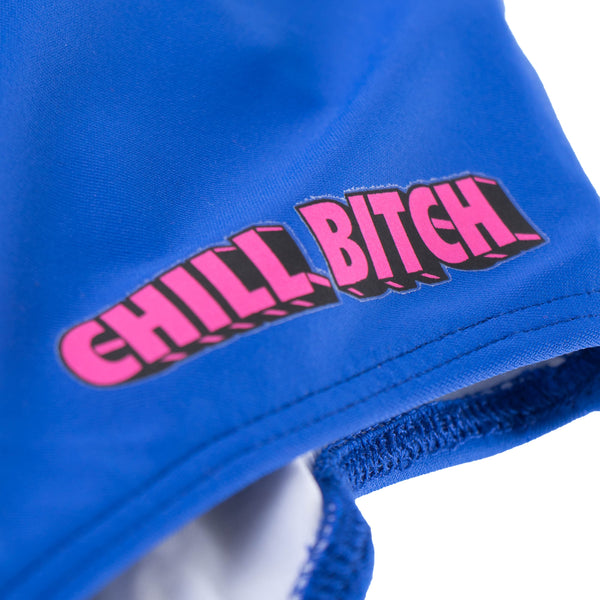 Chill bitch close up text bathing suit
