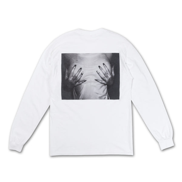 Cover Up Longsleeve Tee hands groping chest back view
