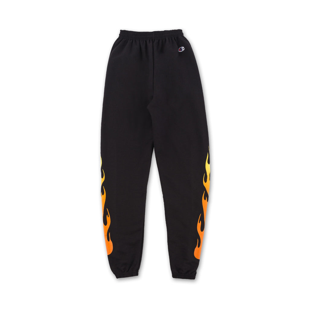 Flame Sweatpants - Black flames on sides front view