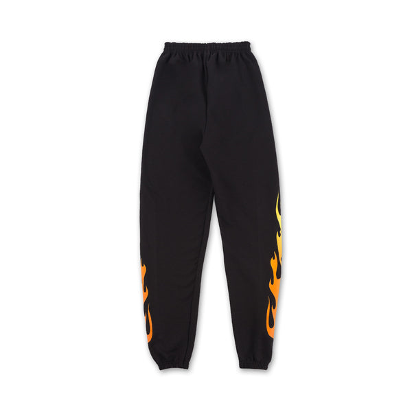 Flame Sweatpants - Black flames on sides back view