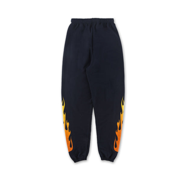 Flame Sweatpants - Navy flames down sides front view