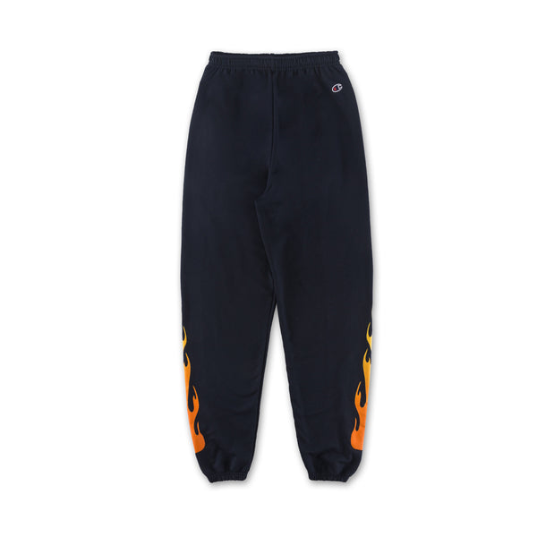 Flame Sweatpants - Navy flames down sides back view