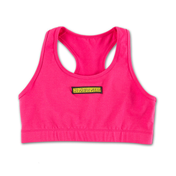 No Photos Please Pink Sports Set bra only front view
