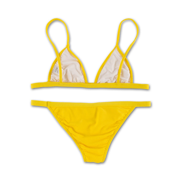 Yellow Ribbed Bikini Set
